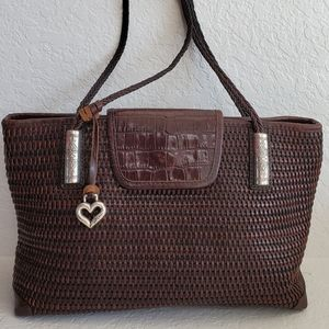 Brighton Woven Leather and Straw Shoulder Bag